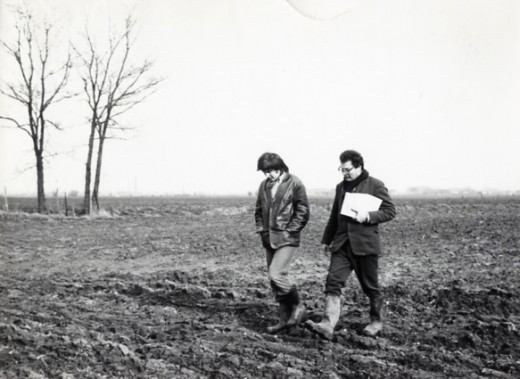 Sir Martin on the battle field of Ypres with his assistant,1969